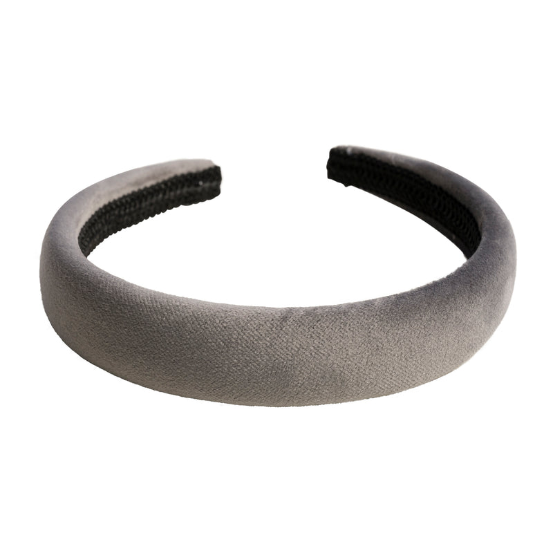VELVET HAIR BAND BROAD DARK GREY