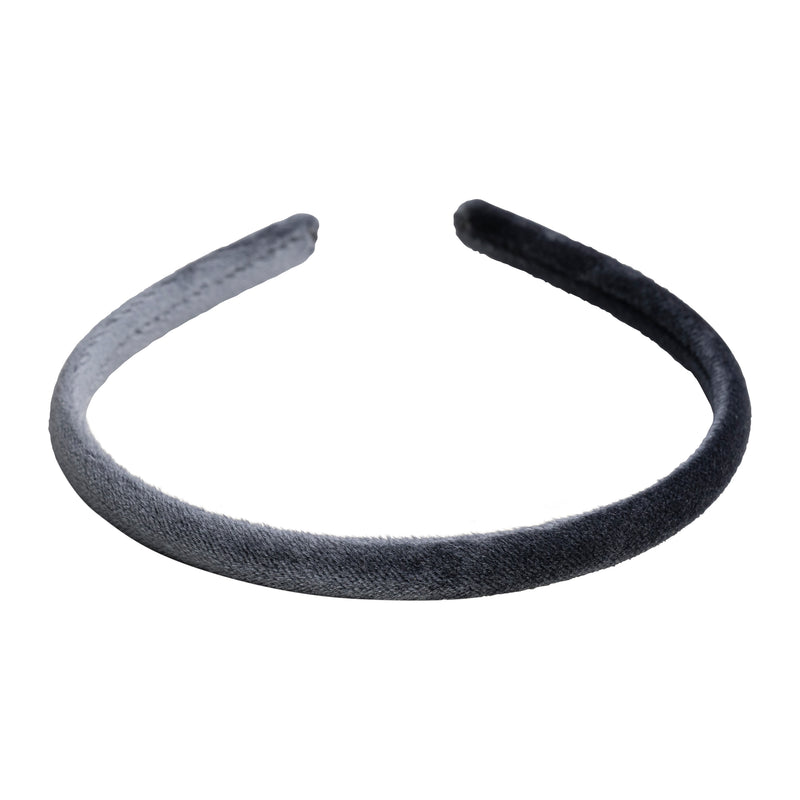 VELVET HAIR BAND THIN STEEL BLUE