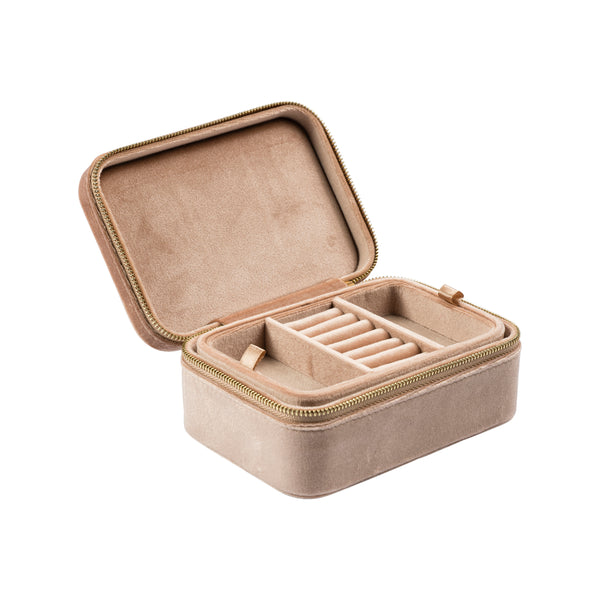 VELVET JEWELLERY BOX CAMEL