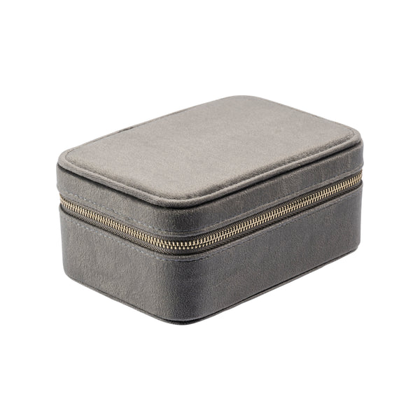 VELVET JEWELLERY BOX DARK GREY