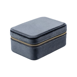 VELVET JEWELLERY BOX STEEL BLUE