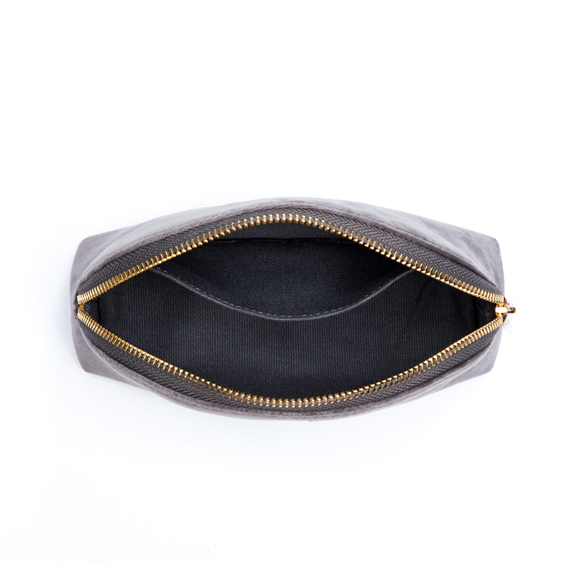 VELVET MAKE-UP POUCH DARK GREY