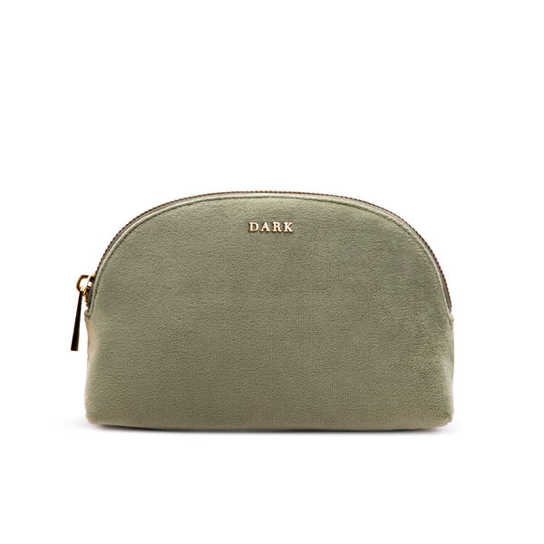 VELVET MAKE-UP POUCH FADED ARMY