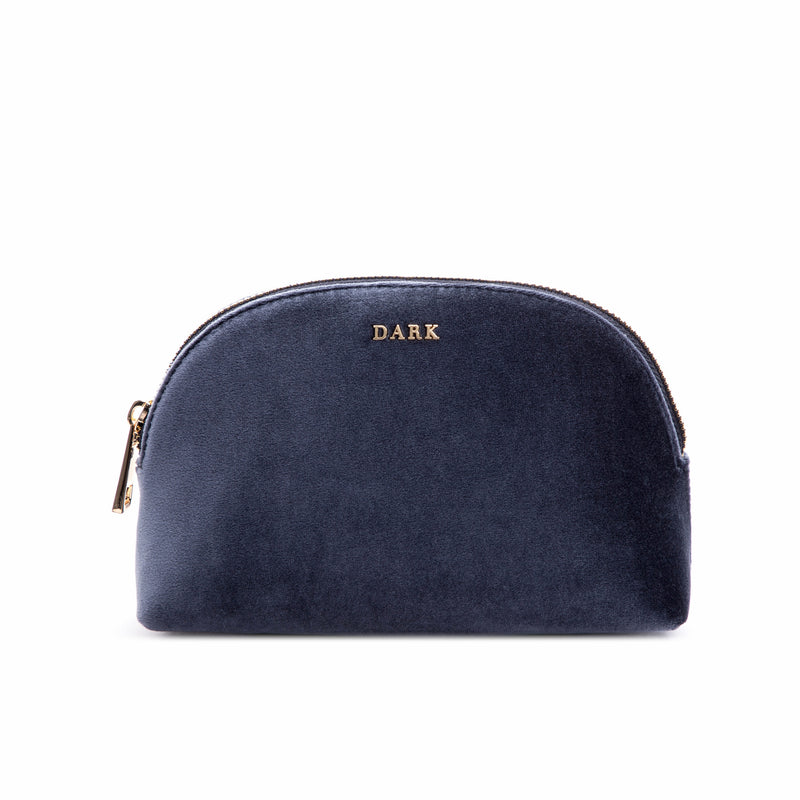 VELVET MAKE-UP POUCH STEEL BLUE
