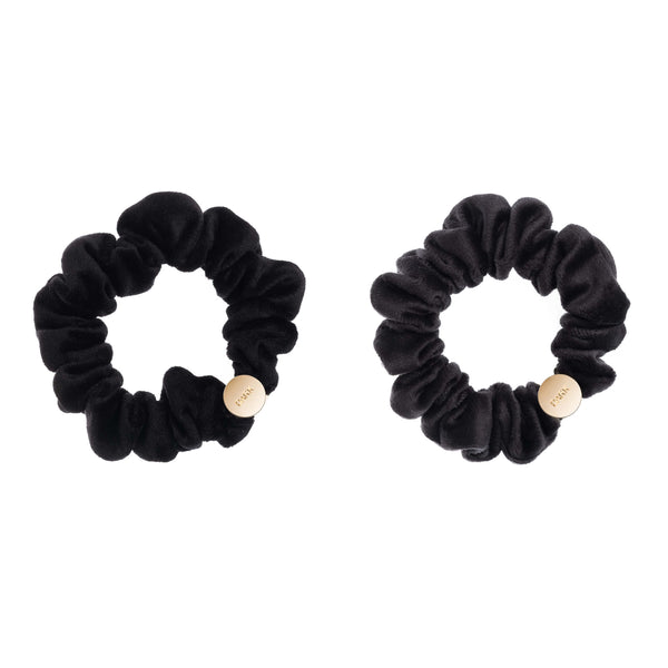 2 PK VELVET MINI SCRUNCHIE BLACK & CHARCOAL