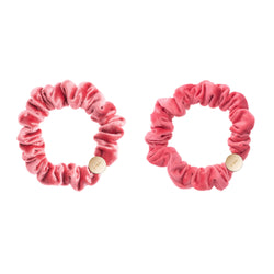 2 PK VELVET MINI SCRUNCHIE CANDY PINK & CANDY KISS