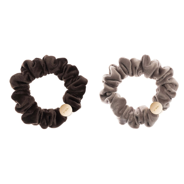 2 PK VELVET MINI SCRUNCHIE CHOCOLATE BROWN & TAUPE