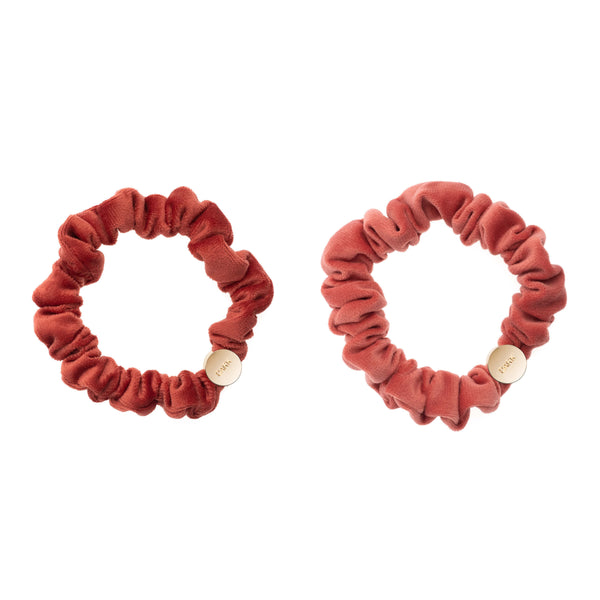 2 PK VELVET MINI SCRUNCHIE DARK TERRACOTTA & TERRACOTTA