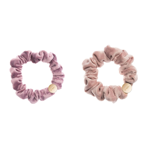 2 PK VELVET MINI SCRUNCHIE DUSTY GRAPE & PALE ROSE
