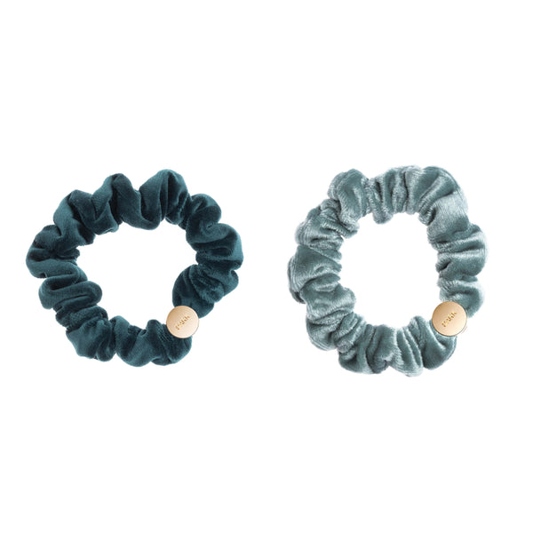 2 PK VELVET MINI SCRUNCHIE MALLARD GREEN & SPARKLED TEAL