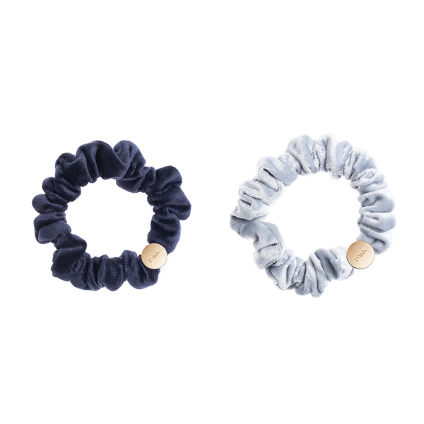 2 PK VELVET MINI SCRUNCHIE NAVY BLUE & COOL BLUE