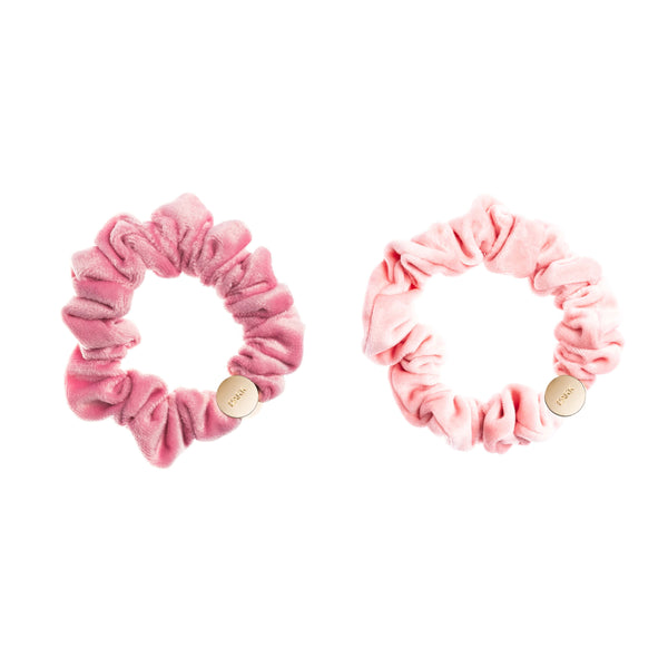2 PK VELVET MINI SCRUNCHIE PALE PINK & BALLERINA ROSE