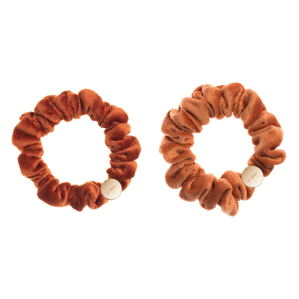 2 PK VELVET MINI SCRUNCHIE RUST & SUNBURN