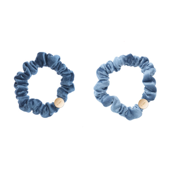 2 PK VELVET MINI SCRUNCHIE STONE BLUE & 501 BLUE