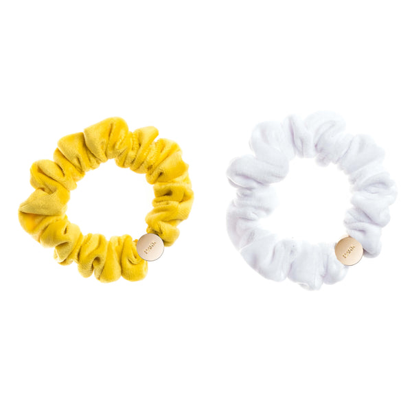 2 PK VELVET MINI SCRUNCHIE SUN YELLOW & WHITE