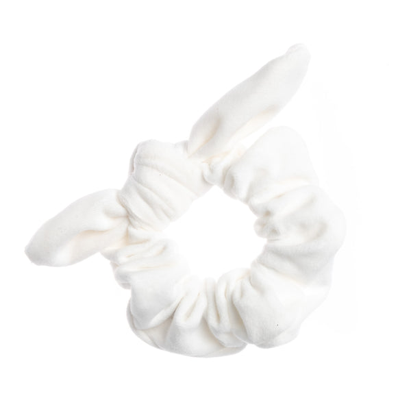 VELVET SCRUNCHIE W/BOW WHITE