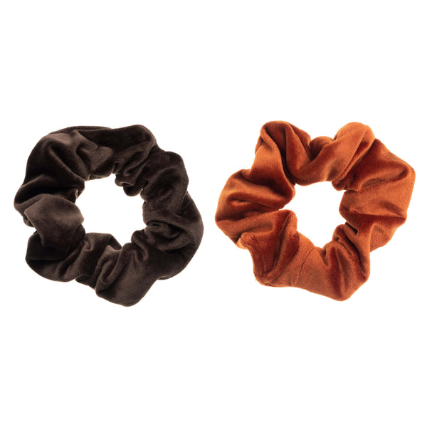 2 PK VELVET SCRUNCHIE CHOCOLATE BROWN & RUST