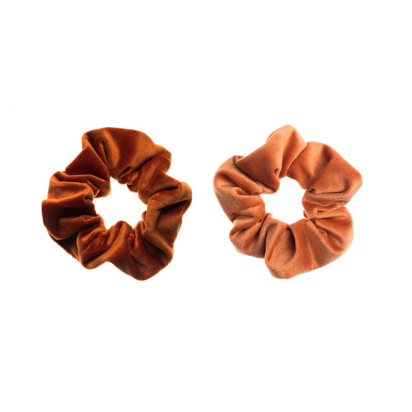 2 PK VELVET SCRUNCHIE COPPER & SUNBURN