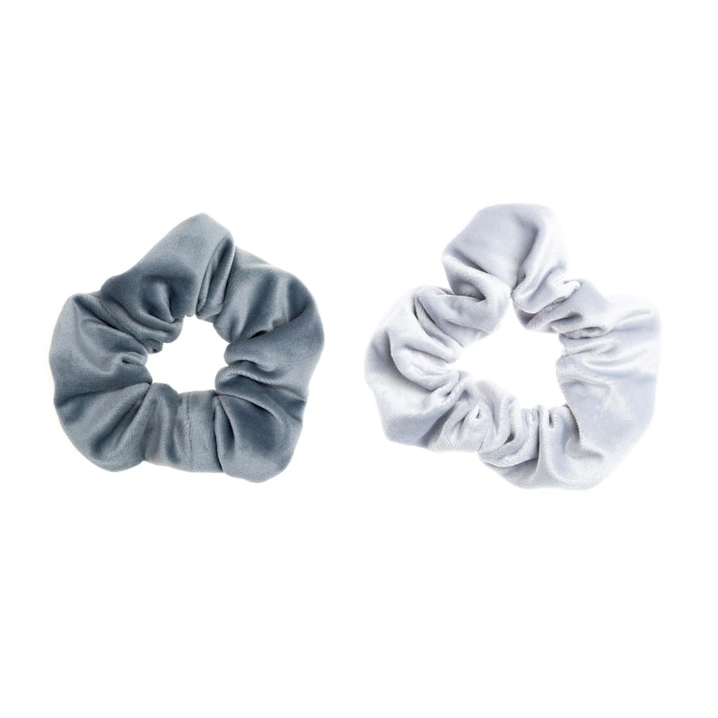 2 PK VELVET SCRUNCHIE DUSTY BLUE & COOL BLUE