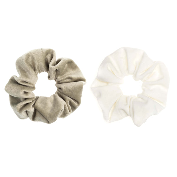 2 PK VELVET SCRUNCHIE FADED ARMY & WHITE