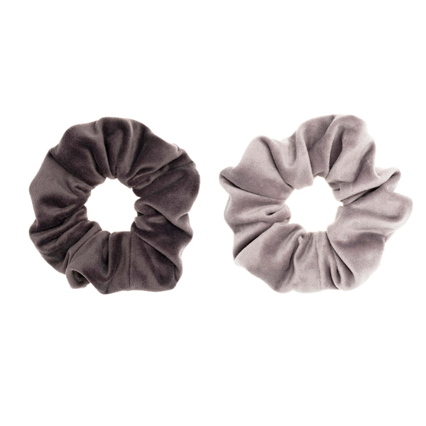 2 PK VELVET SCRUNCHIE GREY & ELEPHANT GREY