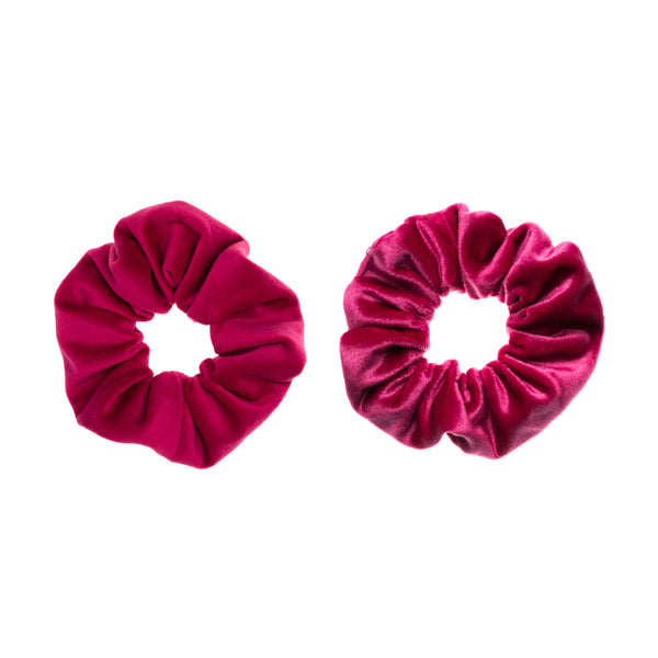 2 PK VELVET SCRUNCHIE PINK & WILDBERRY