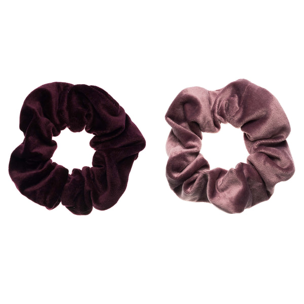 2 PK VELVET SCRUNCHIE RICH PLUM & DUSTY GRAPE