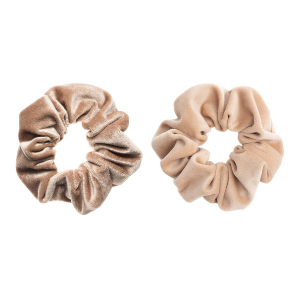 2 PK VELVET SCRUNCHIE SPARKLED SAND & MAGIC CAMEL