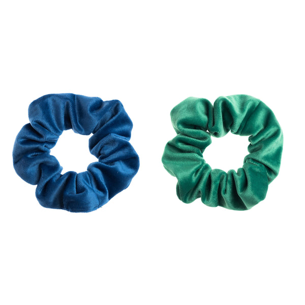 2 PK VELVET SCRUNCHIE STRONG BLUE & GREEN