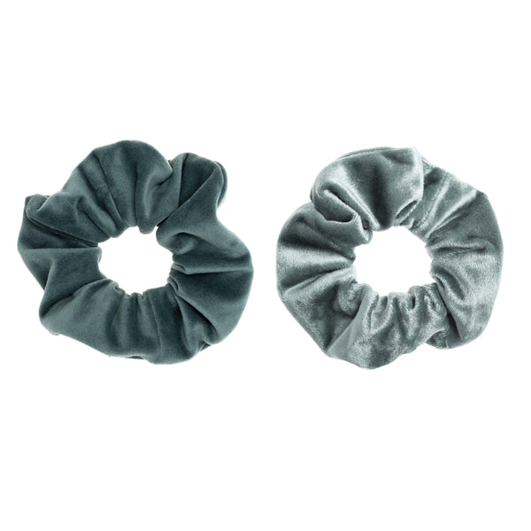 2 PK VELVET SCRUNCHIE TEAL & SPARKLED TEAL