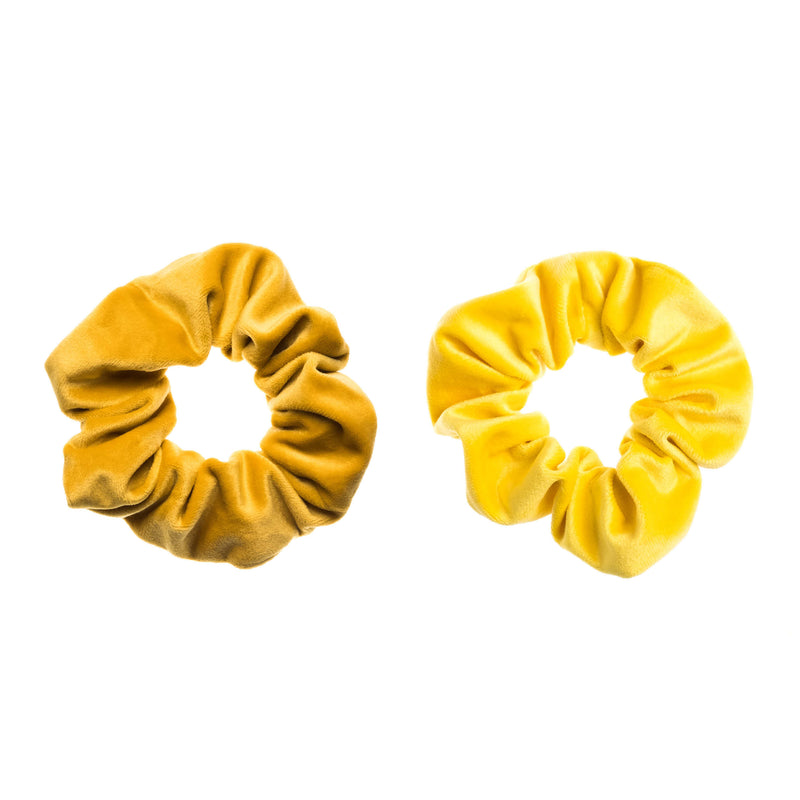 2 PK VELVET SCRUNCHIE YELLOW & SUN YELLOW