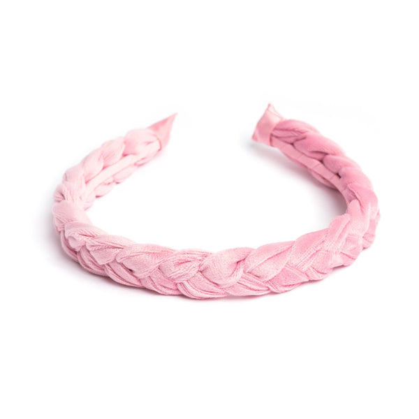 VELVET HAIR BAND BRAIDED PALE PINK