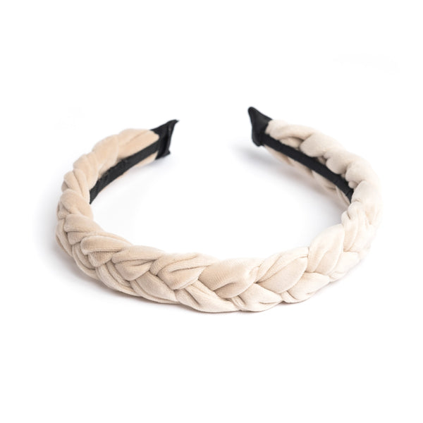 VELVET HAIR BAND BRAIDED SAND