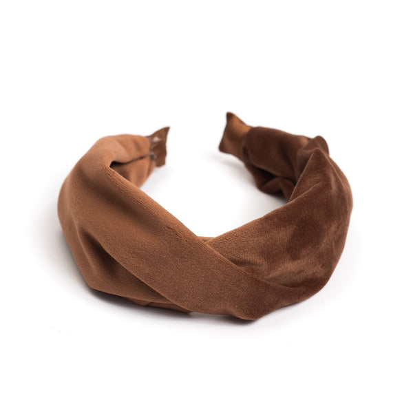 VELVET HAIR BAND FOLDED COGNAC