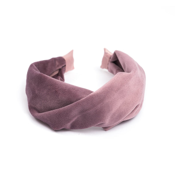 VELVET HAIR BAND FOLDED GRAPE