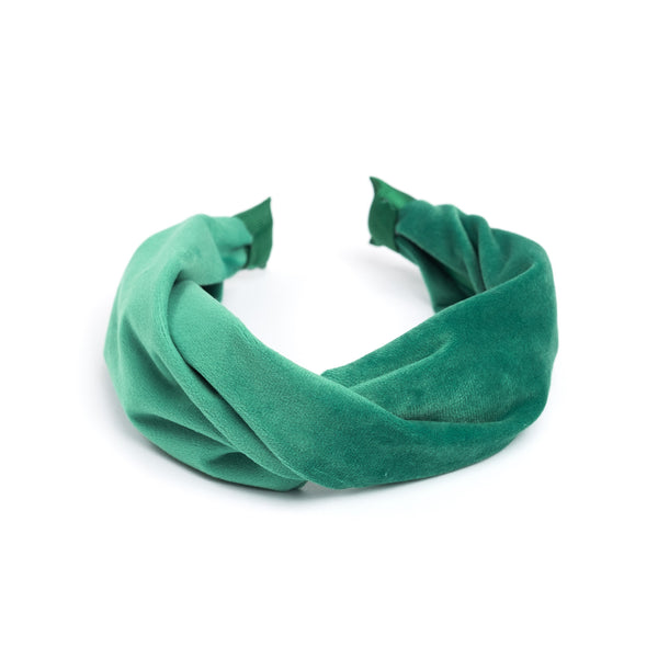 VELVET HAIR BAND FOLDED GREEN