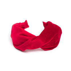 VELVET HAIR BAND FOLDED RED