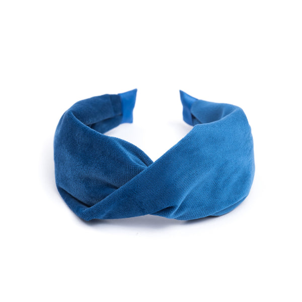 VELVET HAIR BAND FOLDED STRONG BLUE