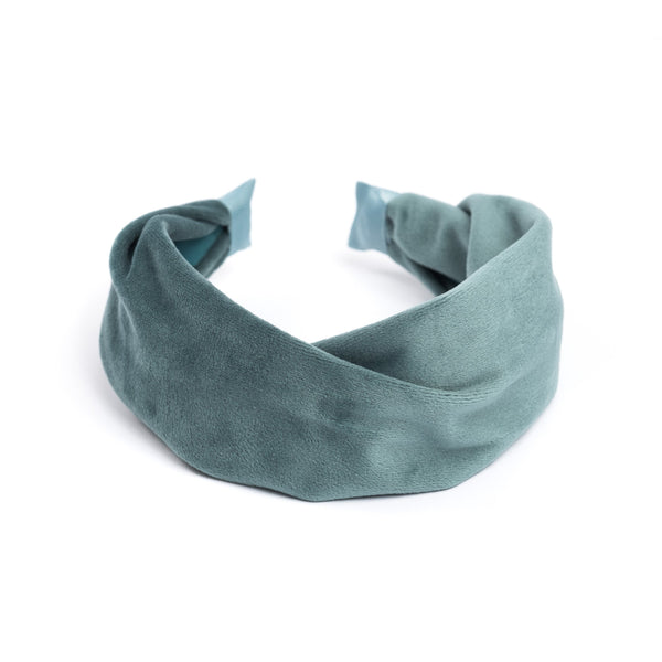 VELVET HAIR BAND FOLDED TEAL