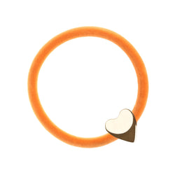 VELVET HAIR TIE PALE ORANGE W/GOLD HEART