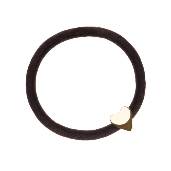 VELVET HAIR TIE CHOCOLATE BROWN W/GOLD HEART