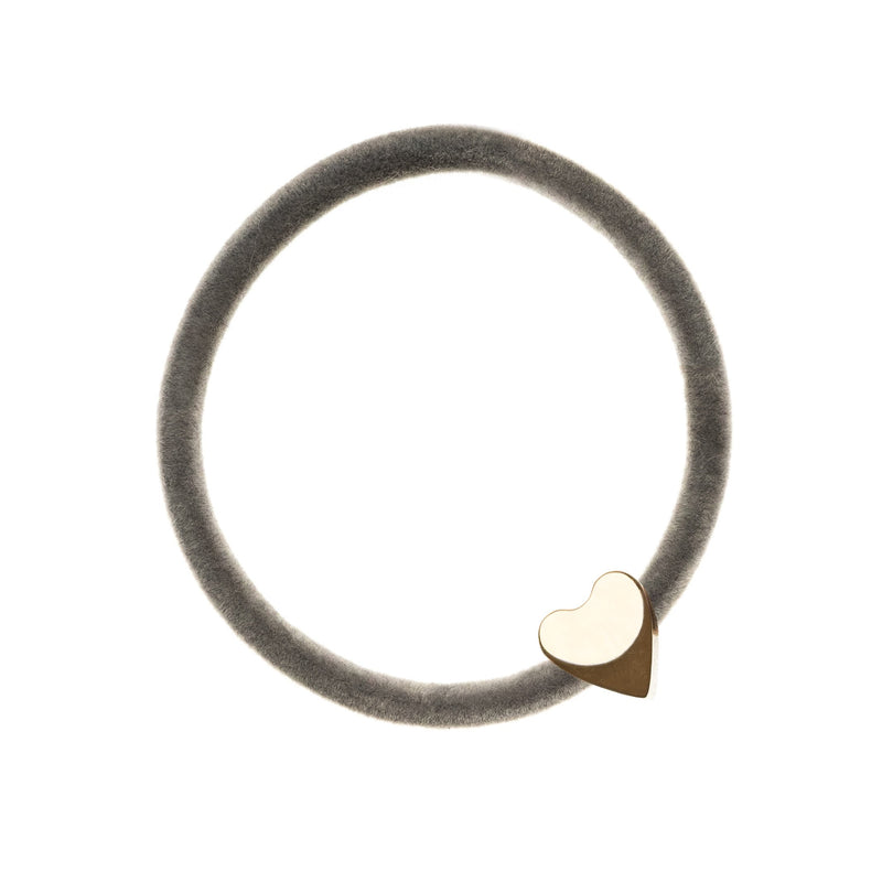 VELVET HAIR TIE GREY W/GOLD HEART