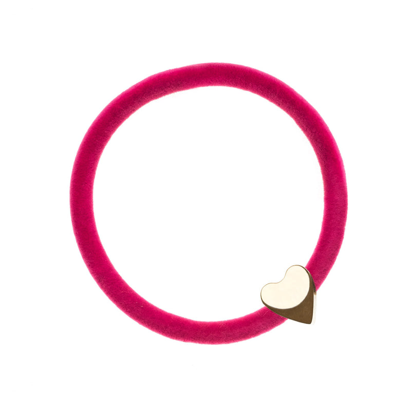 VELVET HAIR TIE PINK W/GOLD HEART