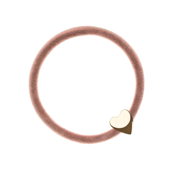 VELVET HAIR TIE ROSE W/GOLD HEART