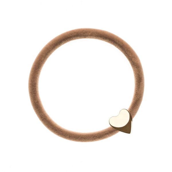 VELVET HAIR TIE SAND W/GOLD HEART