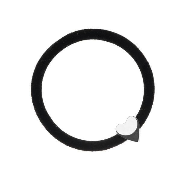 VELVET HAIR TIE BLACK W/SILVER HEART