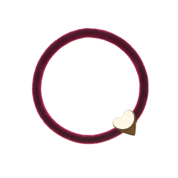 VELVET HAIR TIE WILDBERRY W/GOLD HEART