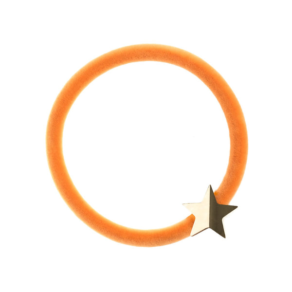 VELVET HAIR TIE PALE ORANGE W/GOLD STAR