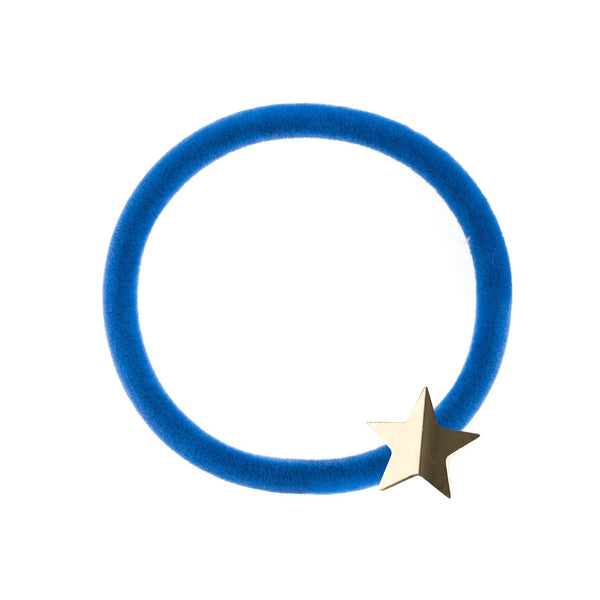 VELVET HAIR TIE STRONG BLUE W/GOLD STAR