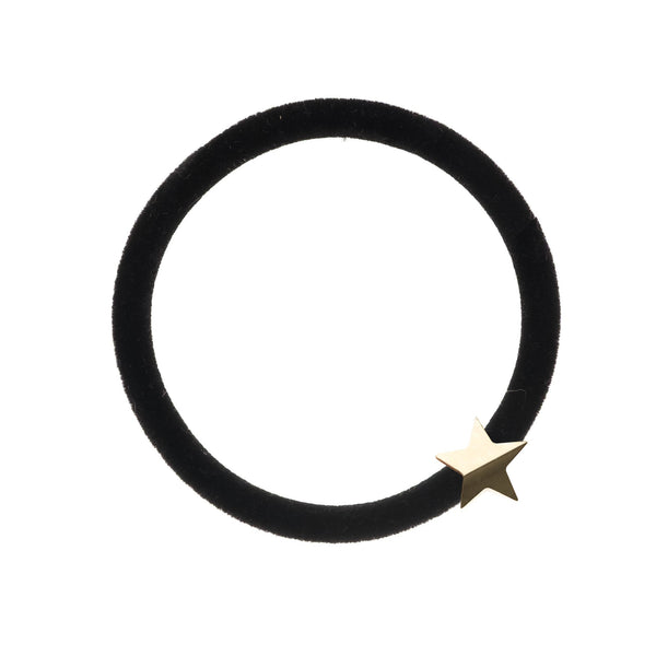 VELVET HAIR TIE BLACK W/GOLD STAR